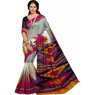 Shri Sai International Multicolor Bhagalpuri Silk Printed Saree With Blouse