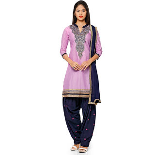 Aaina Purple  Blue Polycotton Embroidered Dress Material (SB-3277-JAN) (Unstitched)