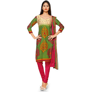 Aaina Green  Pink American Crepe Printed Dress Material (SB-3279-JAN) (Unstitched)