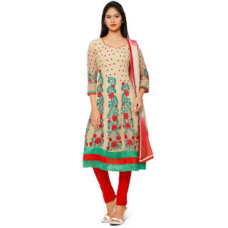 Aaina Beige  Red Georgette Embroidered Dress Material (SB-3280-JAN) (Unstitched)