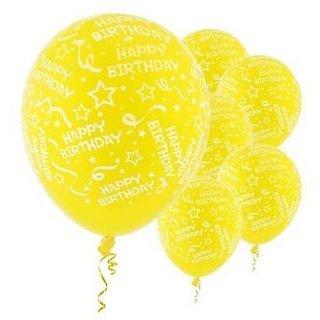 Funcart Yellow  Elegant Happy Birthday Balloons (Pack of 5)