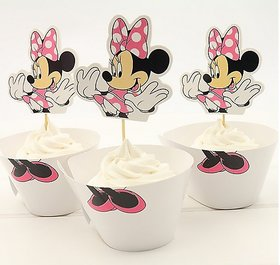 Funcart  Minnie Mouse Cupcake Wraps And Picks (12 Inche