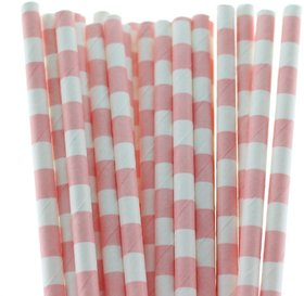 Funcart Stripe Party Paper Straws 25Pcs Pink