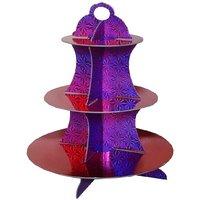 Funcart Funcart Three Tier Cupcake Stand- Red  Purple