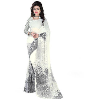 The Lugai Fashion White Georgette Saree