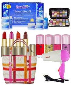 Super Combo Makeup sets With Hair Dryer  Diamond Facial Kit 250g Etc