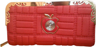 SWEET DOUBLE APPLE METAL OUTLINED RED FASHIONABLE WALLET FOR WOMEN SDB-14 RD