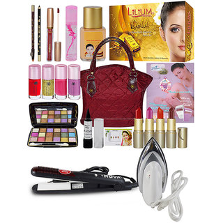Wedding Collection Beauty Combo Makeup Sets With Gold Facial Kit Straightener  Dryer