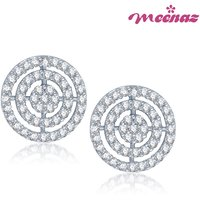 Meenaz Fascinating Rhodium plated CZ earrings T102