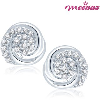 Meenaz Silver Plated  Silver Studs For Women