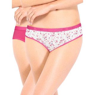 Soie Pink Printed Spandex Panty(Pack Of 2)