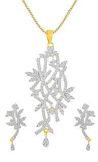 Inaya White Stone And Gold Plated Delicate American Diamond Pendant