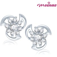 Meenaz Gorgeous Rhodium Plated CZ Earings T107