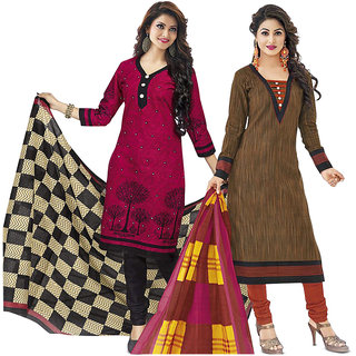Evania Multicolour Unstiched Cotton Combo Dress Material (Unstitched)