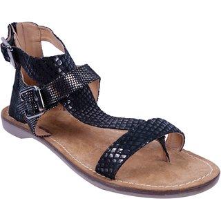 c617e05a8931 Black Colour Women s Leather Flat Sandals - SWANSIND