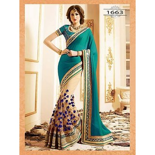 51bb69d4e5 Buy Om Sai Collection Presents Green White Color Party Wear Sarees ...