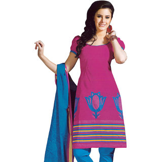 Beautiful Pink & Blue Pure Cotton Dress Material