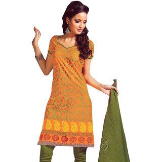 Mustard & Green Pure Cotton Dress Material