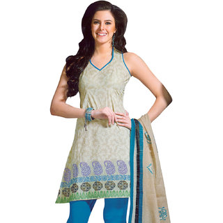 Admirable Beige & Blue Pure Cotton Dress Material