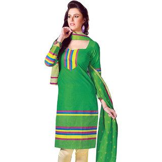 Green & Cream Pure Cotton Dress Material