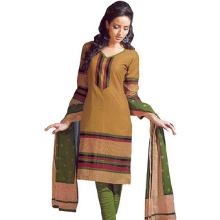 Dark Mustard & Green Pure Cotton Dress Material