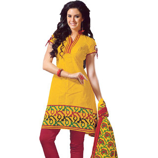 e0b0934d09ac Lavis Yellow   Maroon Pure Cotton Dress Material Prices in India ...