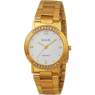 Howdy Crystal Studded Analog White Dial With Golden Stainless Steel Strap Watch
