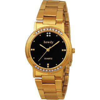 Howdy Crystal Studded Analog Black Dial With Golden Stainless Steel Strap Watch