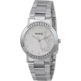 Howdy Crystal Studded Analog White Dial With Stainless Steel Strap Watch
