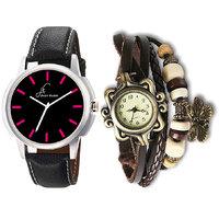 Jack Klein Round Dial Black Strap Watch And Brown Vinta