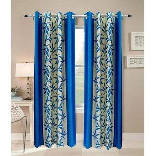 S Trendz kolaveri Blue long door curtain pack of 2(4x9)Ft.