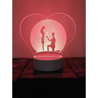 3D LED Acrylic Night Lamp with 3 changeable colors (Red,Blue,Violet)