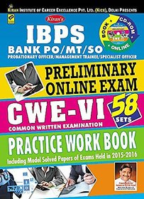 Kiran's Bank Po/Mt/So Preliminary Online Exam CWE - VI Practice Work Book (With Cd) Paperback  2016