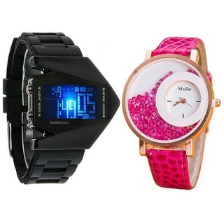 Rocket Digital Black Men And Mxre Pink  Women Couple Analog Watches For Men And Women