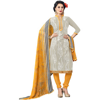 Swaron Grey and Yellow Colour Glace Cotton Dress Material 411D2001 (Unstitched)