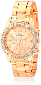 Geneva Collection Rose Gold Dial Analog Watch For Women