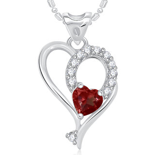 VK Jewels Exclusive Heart Valentine Rhodium Plated Pendant  - P1760R [VKP1760R]