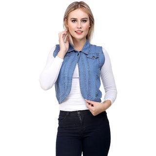 85c0f55cde6 Buy NumBrave Light Blue Sleeveless Denim Shrug For Women Online - Get 50%  Off