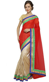 florence clothing company Beige & Red Chiffon Embroidered Saree With Blouse