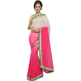 Meia Pink Chiffon Embroidered Saree With Blouse