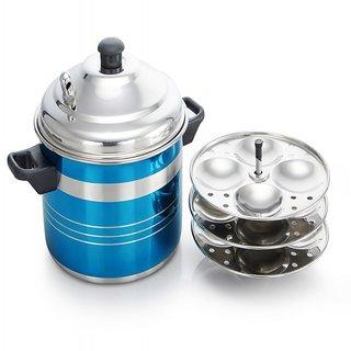 Mahavir12pc  Idly Cooker 2.5 Ltr Inner Lid- Induction Base-METALLIC BLUE