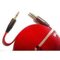 RED Color 3 Meters 9 Feet - 3 Pole - FLAT EP Stereo Aux / Auxilary Cable / Cord