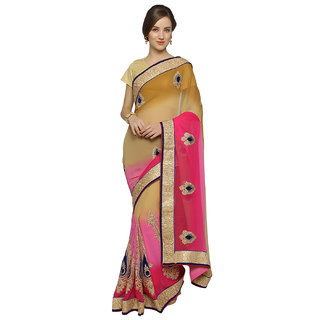 florence clothing company Beige & Pink Chiffon Embroidered Saree With Blouse
