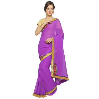 Florence Purple Faux Georgette Embroidered Saree with Blouse (FL-11974)