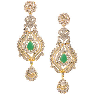 Nitals Jewellery AD Studded Long Earings with Green Emerald Stone