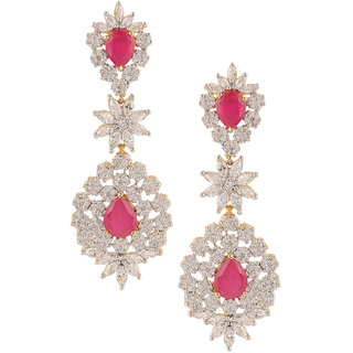 Nitals Jewellery Ad Studded Long Earrings With Red Ruby Stone
