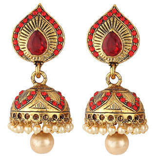 Jewels Guru Exclusive  Golden  Maroon Earrings     H110