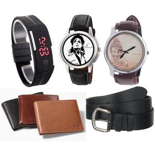 Combo of 3 Different Watches, Belt And Wallet
