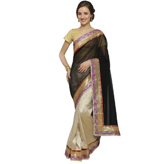 florence clothing company Beige & Black Chiffon Embroidered Saree With Blouse