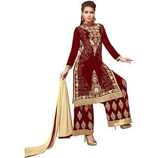 Swaron Red Colour Georgette Salwar Suit 356D3092 (Unstitched)